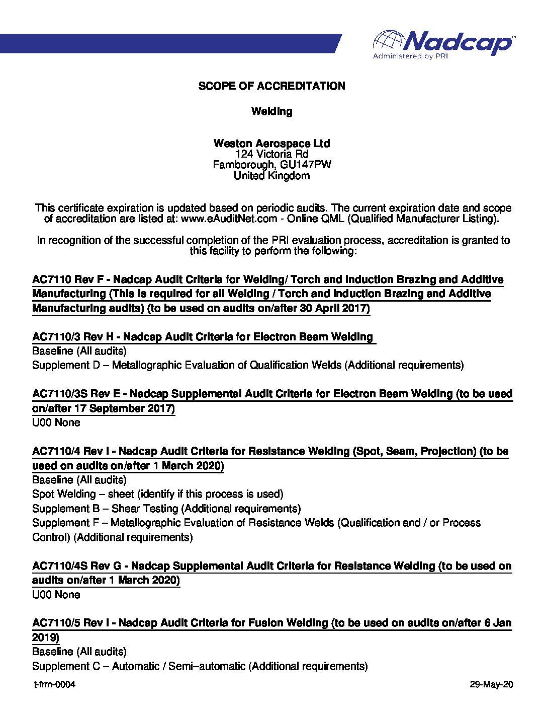 Weston-NADCAP-Welding-Scope-Of-Accreditation-Audit-192548-pdf